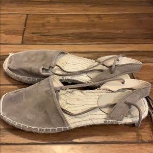 Gap lace up taupe suede espadrilles 7 women's